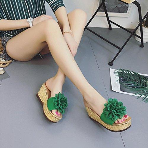 Fleurs de Compensees Femmes Sandales Femme Chaussures Plage à Vert Chaussures Plates Sandales Femme Talons Oyedens Plateforme Hauts Plates Sandales à Wedges Pantoufles x4qHnCX6w