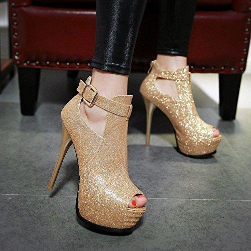 Frauen Dünnen Absatz Knöchel Hohe Plattform Peep Toe Pumps der Schuhe OL Arbeit Gold