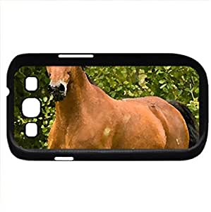 Horse:) - Case Cover for Samsung Galaxy S3 i9300 (Horses Series, Watercolor style, Black)