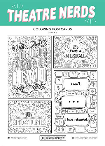"""Theatre Nerds - Coloring Postcards - Hand-drawn illustrations by Coloring Broadway. Printed on matte card stock. (5"""" x 7"""" - Set of 4)"""