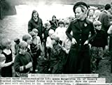 Vintage photo of Queen Margrethe visits Godafoss waterfalls in Iceland