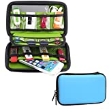 Honeystore Small Storage Case Electronics Travel Organizer Bag Digital Gadget Case USB Flash Drives Case Organizer Bag for for Phone, Various USB, SD Card, Cables, Charger, Earphone and More Blue