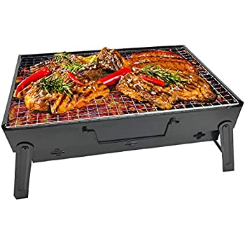 RIGMA Portable Barbecue Charcoal Grill - Folding & Lightweight Compact BBQ - Stainless Steel Carry-ON for Camping, PICNICS, Backpacking, BACKYARDS, ...