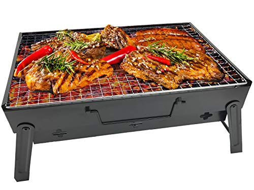 RIGMA Portable Barbecue Charcoal Grill - Folding & Lightweight Compact BBQ - Stainless Steel Carry-ON for Camping, PICNICS, Backpacking, BACKYARDS, Survival, Emergency Preparation (Small) by RIGMA