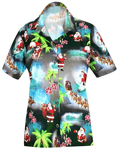 HAPPY BAY Christmas Hawaiian Shirt Button Down Santa Aloha Black_AA97 M-US36-38D