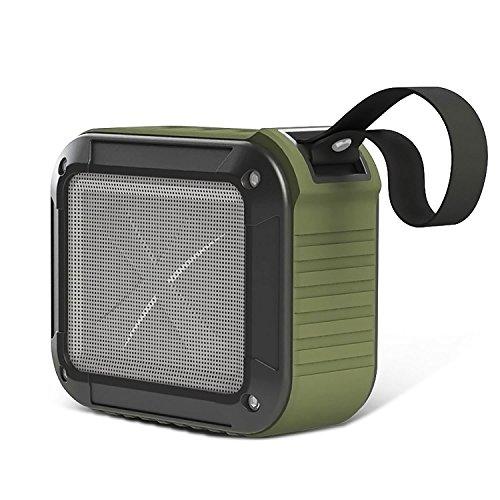 Bluetooth Speaker 4.0 Wireless Waterproof Shower OK Portable Outdoor Sport NFC 3D Sound Shockproof Dustproof, Pair All BT Devices,10 Hour Music Play 1500mAh Battery, Hands Free Call, Mic, AUX -Green (Light Outdoor 3w Break)