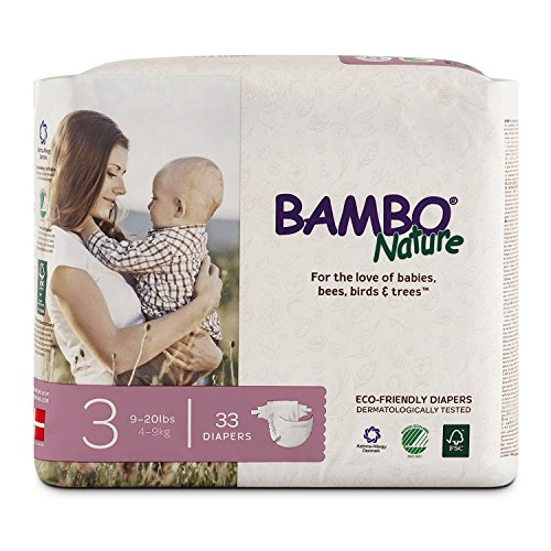 Bambo Nature Premium Baby Diapers, Size 3 (9-20 lbs), 33 Count