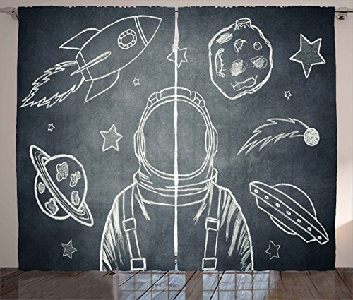 White Cadet Cadet Drop (Modern Curtains by Ambesonne, Space Backdrop with Planets and Sketchy Astronaut Figure Asteroid Galaxy Image, Living Room Bedroom Window Drapes 2 Panel Set, 108 W X 63 L Inches, Cadet Blue White)