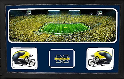 Encore Select 657-08 NCAA Michigan Wolverines Custom Framed Sports Memorabilia with Two Mini Helmets Photograph and Name Plate by Encore