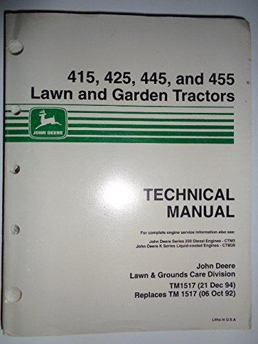John Deere 415 425 445 455 Lawn and Garden Tractor Technical Service Repair Manual TM1517 12/94
