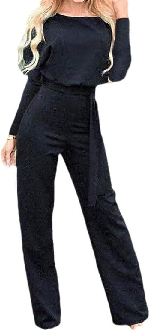 Tymhgt Women Jumpsuit High Waist Long Sleeve Casual Wide Leg Pants Rompers