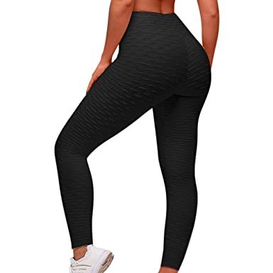 f37cf315048a6 MOOSLOVER Women's High Waist Yoga Pants Ruched Butt Lift Textured Workout  Leggings(S,Black