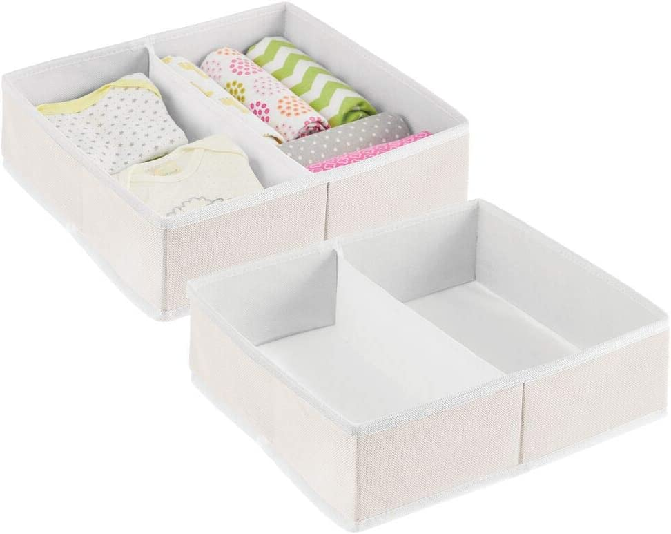 Nursery Cream//White 2 Pack mDesign Soft Fabric Dresser Drawer and Closet Storage Organizer Bin for Child//Kids Room Divided 2 Section Tray Playroom