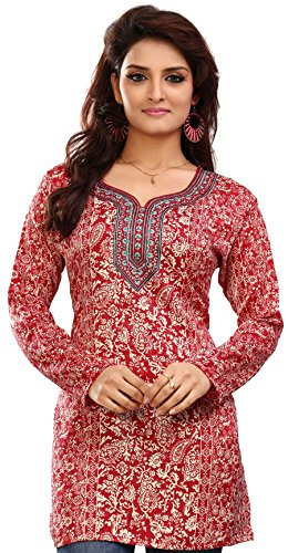 Kurti Top Long Tunic Womens Printed Blouse India Clothing (Red, - Clothing India