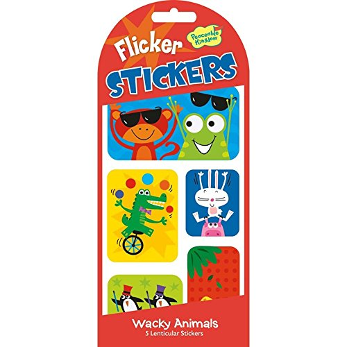 Stickers Lenticular (Peaceable Kingdom Lenticular Sticker Wacky Animals Picture-Changing Flicker Sticker Pack)