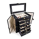 Modenny Makeup Jewellery Storage Case Multi-Function Large Capacity Jewelry Display Box Case Leather Jewellery Box Travel Case with Lock for Ms Girl Women's Gifts(3 Color) (Color : Black)