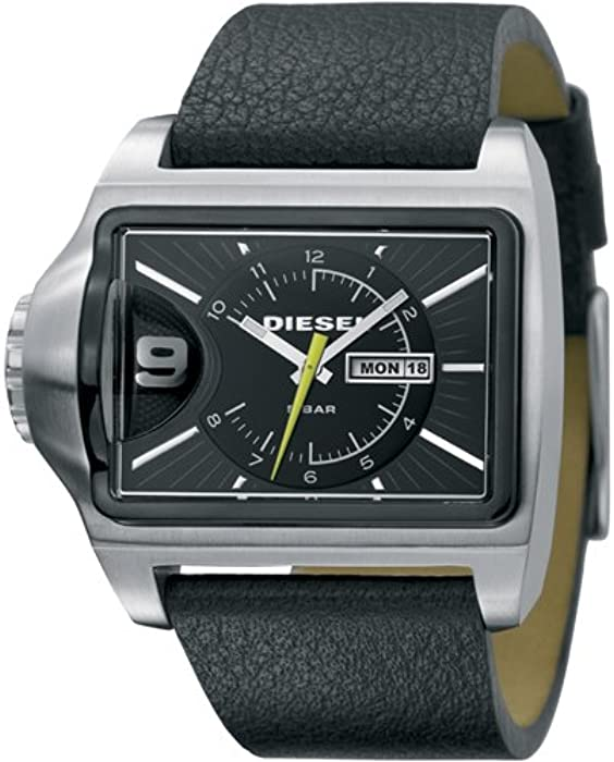 Diesel DZ1313 - Reloj analógico de cuarzo para hombre con correa de piel, color negro