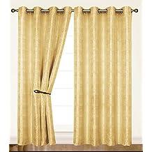 Dainty Home Criss-Cross Helen Grommet Window Panel, 55 by 84-Inch, Gold