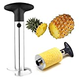 Warmoor Stainless Steel Pineapple Peeler Corer Slicer Cutter and Wedger with Non-Slip Handle for Easy Coring and Stem Remover (Black)