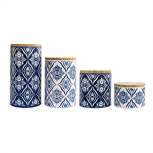 American Atelier Pirouette 4 Piece Canister Set, Blue/White (Kitchen Cannister White)