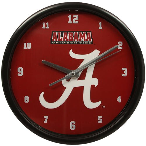 NCAA The University of Alabama Official Black Rim Basic Clock, Multicolor, One Size ()