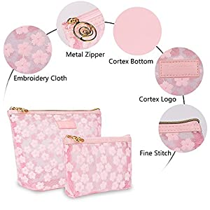 Cosmetic Makeup Bags for Women-Zakaco Pink Handy Purse Makeup Pouch Bags Travel Organizer Set of 2 for Women's Accessories Toiletries Beauty Stuff Essential Traveling Accessory