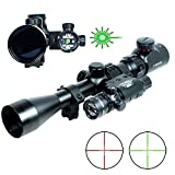 LVLing 3-9x40mm Tactical Illuminated Rifle Scope with Green Laser Sight for 11mm Weaver/Picatinny Rail Mount