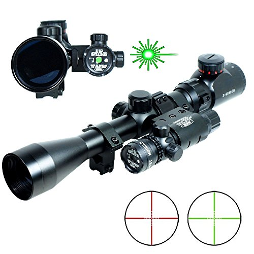 Lukher 3-9x40 Hunting Rifle Scope Mil-Dot illuminated Red/Green Snipe Scope & Green Laser Sight