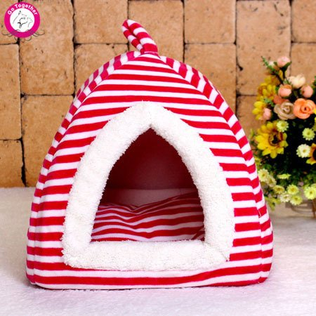 bluee S bluee S WeMore(TM) Fashion Striped Folding Pet Dog House Soft PP Cotton Padded Cave Beds For Dog Cats Cozy Warm Puppy Kennel Red bluee S M L