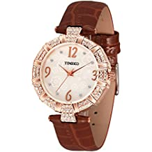 Time100 Simple Retro Shell Dial Quartz Leather Watches for Women #W50449L.05A (Brown)