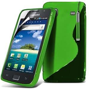 (Verde) Samsung SL Galaxy i9006s) Protector Gel onda S Línea piel cubierta retráctil Capacative Pantalla Táctil Lápiz Óptico & 6 Pack Protector de pantalla LCD Protector de Spyrox