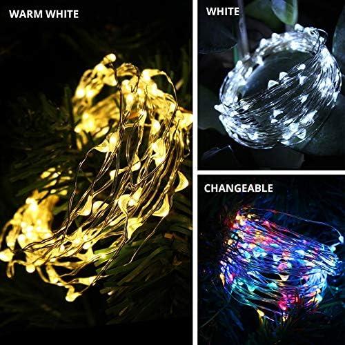 ZJH LED-Solarlicht wasserdichte Fee Garland Lichter String Außen Feiertags-Weihnachtsfest-Hochzeit Solarlampe Dekor 50/100/200 (Emitting Color : Multicolor)