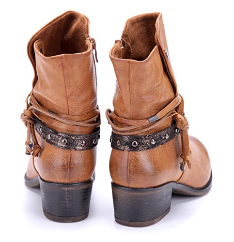 6a326ca1e43dc8 Damen Schuhe Klassische Stiefeletten Stiefel Boots Camel Blockabsatz Nieten  5 cm Schuhtempel24