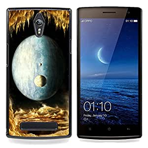 Moon Universe Planets Magical World Yellow Caja protectora de pl??stico duro Dise?¡Àado King Case For Oppo Find 7 X9007