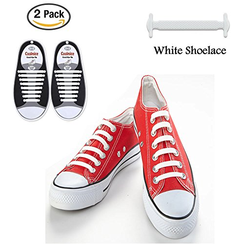 2pack LattoGe No Tie Silicone Shoelaces Lace Lock Bands for Kids, Adults Athletic Running Shoe Laces,Seakers (Adults Size White(2pairs))