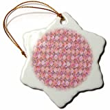 3dRose Uta Naumann Faux Glitter Pattern - Luxury Fresh Gold and Pink Moroccan Arabic Quatrefoil Tile Pattern - 3 inch Snowflake Porcelain Ornament (orn_266877_1)