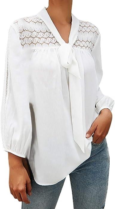 WARMWORD Mujer Tops Moda Mujer Parte Superior Puro Color Vendaje Elegante Manga Larga Casual Suelto Blusa Señoras Camisas de otoño e Invierno Sexy Mujer Ropa Camisa de Gasa: Amazon.es: Ropa y accesorios