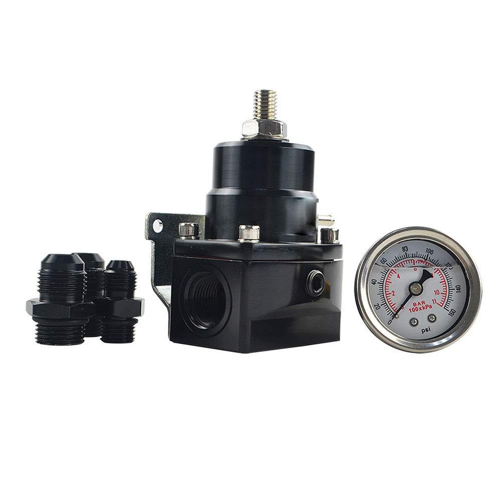 XuBa AN8 High Pressure Fuel Regulator W/Boost-8AN 8/8/6 EFI with Reinforcement (Silver) by XuBa