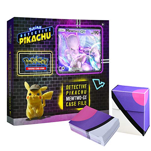 Pokemon TCG: Detective Pikachu Mewtwo-Gx Case File + 6 Booster Pack + A Foil Promo Gx Card + A Oversize Gx Foil Card + 1 Master Ball Themed Deck Box -