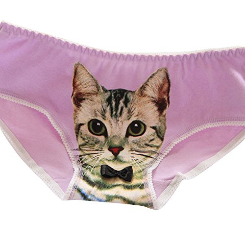 Birdfly 10 Color Unique Vivid Kitty Print Cotton Underwear with Bowknot Women Sexy Briefs Panties Sleepwear Clearance (Free Size, Purple)