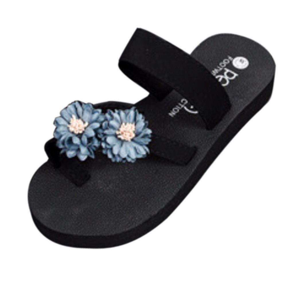 Sandali Donna,Witsaye Eleganti Donna Fiore Fondo Ciabatte Piatto Scarpe Ciabatte Fondo Pantofole da Spiaggia Ragazze Infradito Grigio 3b45ac