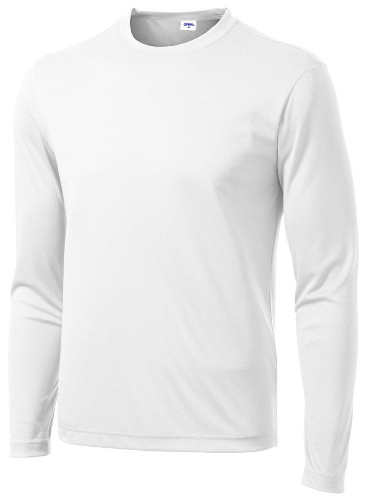 Opna Men's Long Sleeve Moisture Wicking Athletic Shirts White-LT