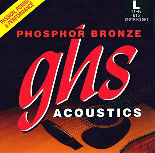 Ghs Phosphor Bronze Acoustic Guitar - GHS Strings Phosphor Bronze Acoustic Guitar, 12-String, Light (.011.048) (615)