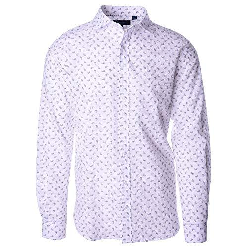 (Haspel Seersucker Long Sleeve Shirt - Carroll Paisley White)