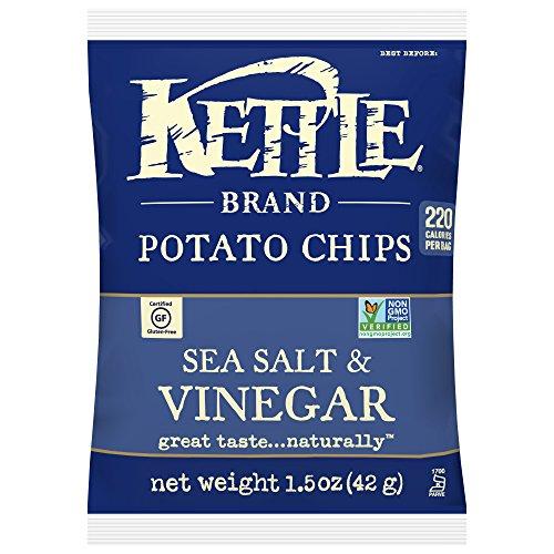 Kettle Brand Potato Chips, Sea Salt and Vinegar, Single-Serve 1.5 Ounce (Pack of 24) (Best Salt Vinegar Chips)