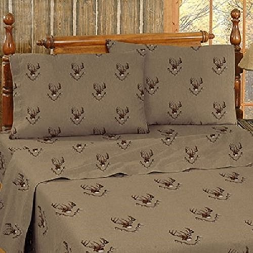 Whitetail Ridge FULL Size Sheet Set - Includes: (1 Flat Sheet, 1 Fitted Sheet & 2 Pillowcases ) - Deer Hunting Woods Mountain Lodge Bedding