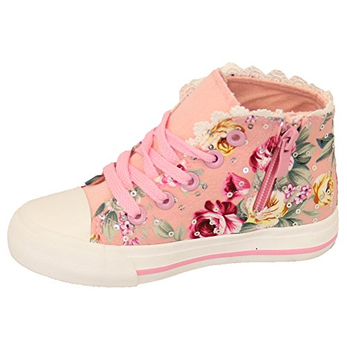 Mädchen Turnschuhe Kinder Blumenmuster Kelsi Kleinkinder Hoch Zum Schnüren Flache Pumps Reißverschluss Schuhe Pink - TR17