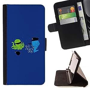 For Sony Xperia Z5 (5.2 Inch) / Xperia Z5 Dual (Not for Z5 Premium 5.5 Inch) Case , La historieta divertida optimista azul- la tarjeta de Crédito Slots PU Funda de cuero Monedero caso cubierta de piel