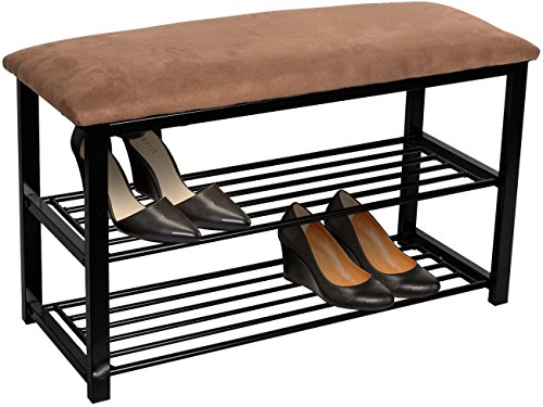 Sorbus Shoe Rack Bench - Shoes Racks Organizer - Perfect Bench Seat Storage for Hallway Entryway, Mudroom, Closet, Bedroom, etc (Brown) ()