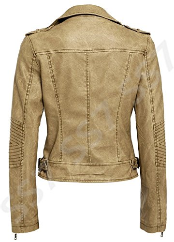 Biker 16 Natural SS7 Faux 8 to Jacket Sizes Natural Leather Women's v4R4wxqP